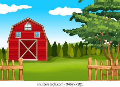 Farmland with barn on the field illustration