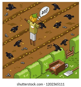 Farmland with cursing scarecrow surrounded by crows picking grains (vector illustration)