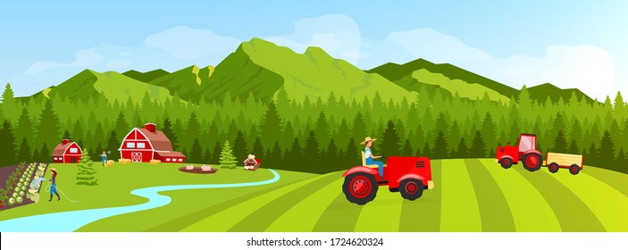 Farmland flat color vector illustration. Filed and plantation rural landscape. Vegetables cultivation and harvesting. Farmers 2D cartoon character with coniferous forest and mountains on background