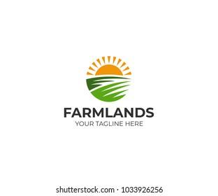 Farmland logo template. Rural landscape vector design. Agriculture illustration