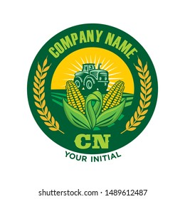 Farms Logo, Tractor Logo, Corn and wheat logo