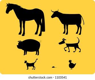 Farmyard animal silhouettes