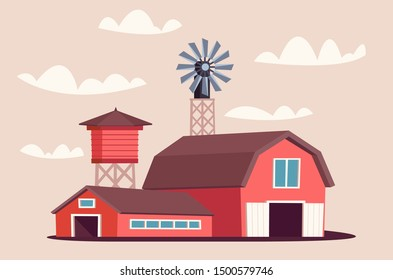 Farmyard buildings flat vector illustration. Traditional wooden barnhouse and livestock shed isolated on beige background. Windmill generating energy and water tower for organic produce manufacturing
