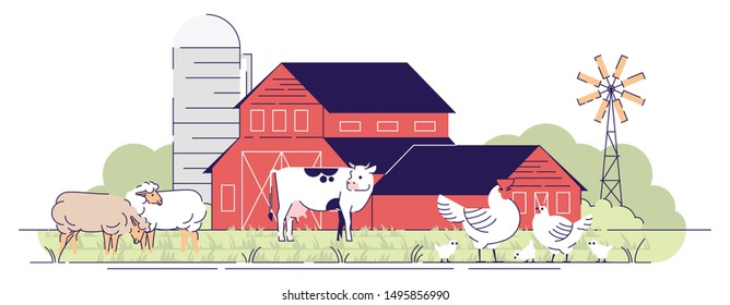 Farmyard flat vector illustration. Livestock farming, animal husbandry, agriculture cartoon concept with outline. Village farmland with domestic animals on barnyard isolated on white background