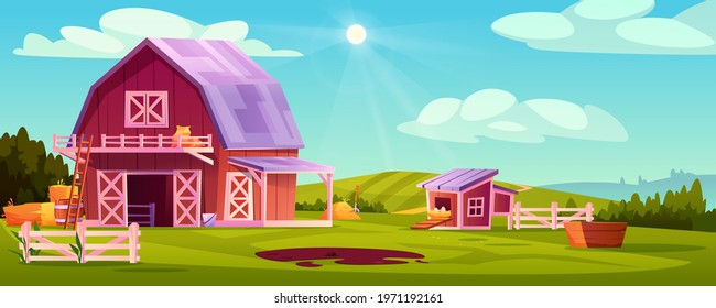 Farmyard outside scenery landscape vector illustration. Wooden barn farm house, green rural farm, chicken coop with eggs in nest, stalks of hay, blue sky on background, ladder, pitchfork and barrel