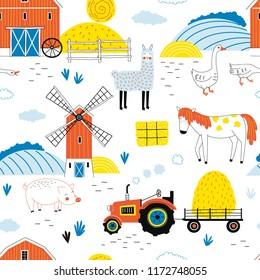 Farmyard seamless pattern