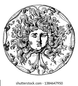 Farnese Medusa Head Dish is an onyx patera or black dish, It is a Roman design, vintage line drawing or engraving illustration.