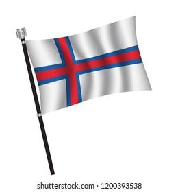 Faroe Islands flag , flag of Faroe Islands waving on flag pole, vector illustration EPS 10.