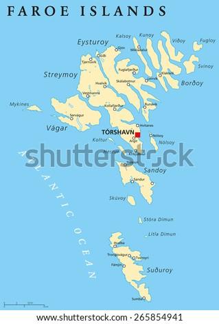 Faroe Islands Political Map Capital Torshavn Stock Vector (Royalty ...