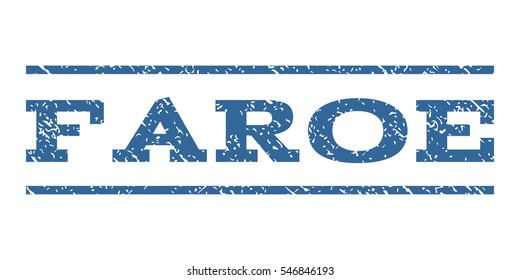 Faroe watermark stamp. Text caption between horizontal parallel lines with grunge design style. Rubber seal stamp with scratched texture. Vector cobalt color ink imprint on a white background.