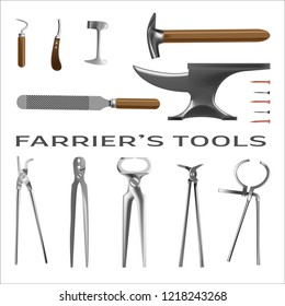 Farrier's tools in realistic style. All the basic instruments for hoof care and shoeing. Fine for farrier's shop banners, catalogues and horsemanship sites and books.