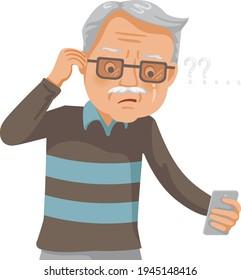 Farsightedness senior man. Elderly retired male eyesight problem or blurry vision from old aged.