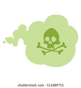 Fart deadly smell. Green cloud with skull and crossbones. Stink aroma. Isolated symbol. On white background.
