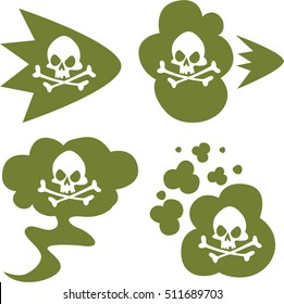 Fart smell. Green cloud set with white skull and crossbones. Stink aroma. Isolated symbols. On white background.