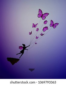 fary girl holding flock  of pink butterflies and flying away, fairy character,  life in the dreamland on flying rock, silhouette.