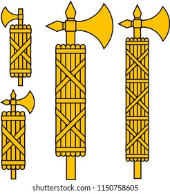 """Fasces, an ancent Roman symbol representing """"strenght through union"""", now days know as Faschi (a bundle of wheat. A variation with the axe coming from the top, rather than from the side of the bundle."""