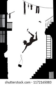 fashinable girl on hight heels falling from the stairs, silhouette of falling girl vector