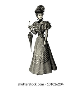 "The fashion Of 1897- Vintage engraved illustration - ""La mode illustree"" by Firmin-Didot et Cie in 1897 France"