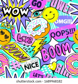 Fashion abstract seamless pattern with patch, stickers, dots and words. Cool background on comics style for teen girl