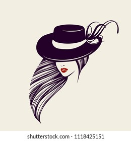 Fashion and accessories beauty icon.Woman with long hair and shiny red lipstick on her lips wearing an elegant hat.Vector illustration.