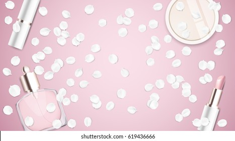 Fashion accessories collection. Makeup powder, lipstick, perfume with rose flower petals. Spring style organic cosmetics background. White and pink soft color romantic vector illustration design.