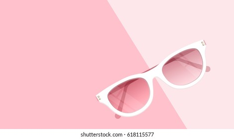 Fashion accessories collection. Sunglasses with rose curtain. Spring style background. White and pink soft color romantic vector illustration design.