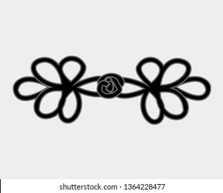 fashion accessories design abstract floral shapes icon. sign design vector. illustration. on white Knot Frog Closure Button