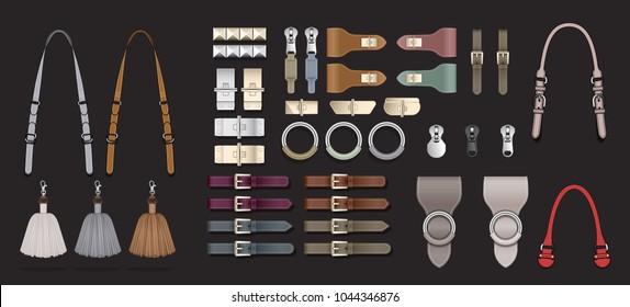 Fashion accessories illustration zipper pulls Handbag illustration template design elements belt buckle tassels tabs leather textured closure clasp isolated