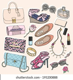fashion accessories set background with accessory
