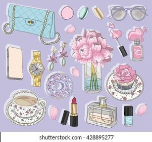 ea1fe3d7 Fashion accessories set. Background with bag, sunglasses, jewelery, makeup,  tea,