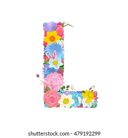 Fashion alphabet from lovely flowers of daffodils, roses, tulips, lily of the valley, crocus, chrysanthemums, hortensia, lilac. Romantic letter L