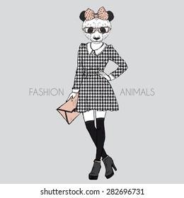 fashion animal illustration, anthropomorphic design, furry art, hand drawn illustration of dressed up panda girl