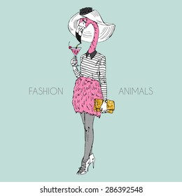 fashion animal illustration, anthropomorphic design, furry art, hand drawn illustration of flamingo girl dressed up in feather skirt drinking pink cocktail