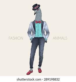 fashion animal illustration, anthropomorphic design, furry art, hand drawn illustration of sharp-dressed .pigeon