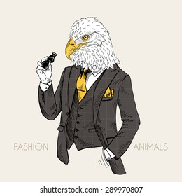 fashion animal illustration, anthropomorphic design, furry art, hand drawn illustration of eagle dressed up in classy style with binoculars