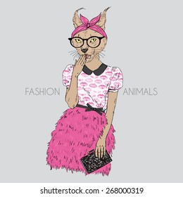 fashion animal illustration, cute hipster cat girl, character design
