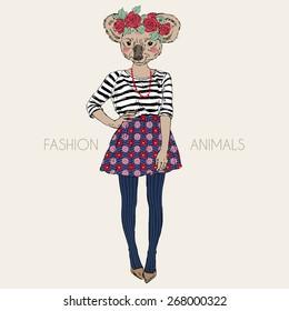 fashion animal illustration, cute koala hipster girl, character design