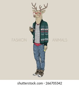 fashion animal illustration, deer hipster drinking coffee, character design