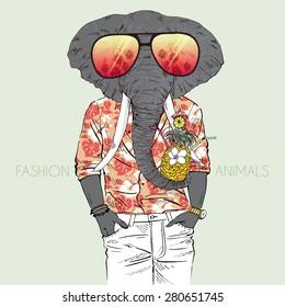 fashion animal illustration, elephant dressed up in aloha shirt, summer vacation, Hawaiian style