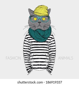 fashion anthropomorphic character of cat dressed up in urban style