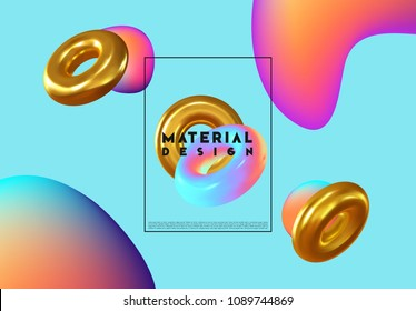 Fashion art, abstract colorful shape of 3d decorative torus ring. Design bright gradient colors, trend of season. Background minimal liquid gradients colored neon. Fluid holographic pattern