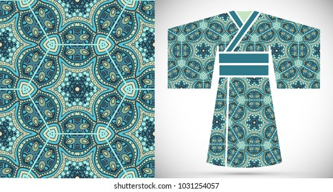 Fashion art collection, colorful illustration. Stylized Japanese kimono ethnic clothes and decorative seamless pattern for textile fabric, paper print, invitation or business card design. Isolated ele