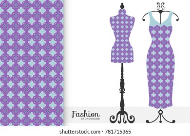 Fashion art collection, vector illustration. Vintage tailor's dummy, dress model and colorful seamless pattern for textile fabric, paper print, invitation or business card design. Isolated elements
