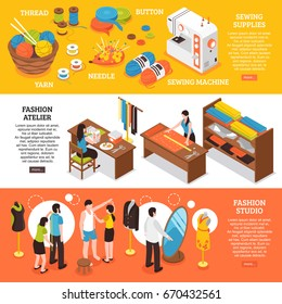 Fashion atelier horizontal banners with cutters dressmakers making body measurements and sewing supplies isometric icons vector illustration