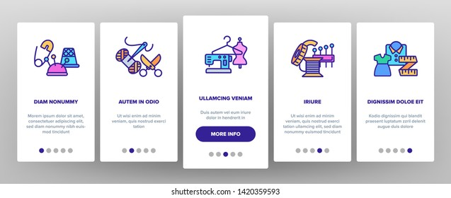 Fashion Atelier And Sewing Vector Onboarding Mobile App Page Screen. Atelier, Tailor Shop. Needlework, Dressmaking Studio Stitching Equipment Outline Illustration