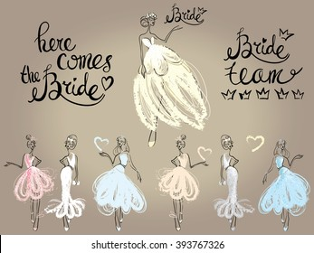 Fashion attractive wedding greeting card with here comes the bride model pose, bridesmaid. Beautiful hand drawn sketch on vintage background. Fashion style, beauty invitation card, banner, design
