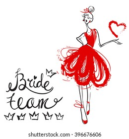 Fashion attractive fashion wedding invitation card with bride team, bridesmaid red dress. Beautiful hand drawn sketch on white background. Fashion style beauty advertising greeting card banner design
