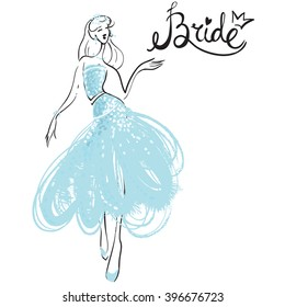 Fashion attractive fashion wedding invitation card with sign bride, blue bride dress. Beautiful hand drawn sketch on white background. Fashion style, beauty, advertising greeting card, banner, design