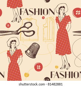 fashion background with scissors, buttons and woman