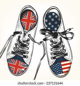 Fashion background with sports boots decorated by British and USA flags